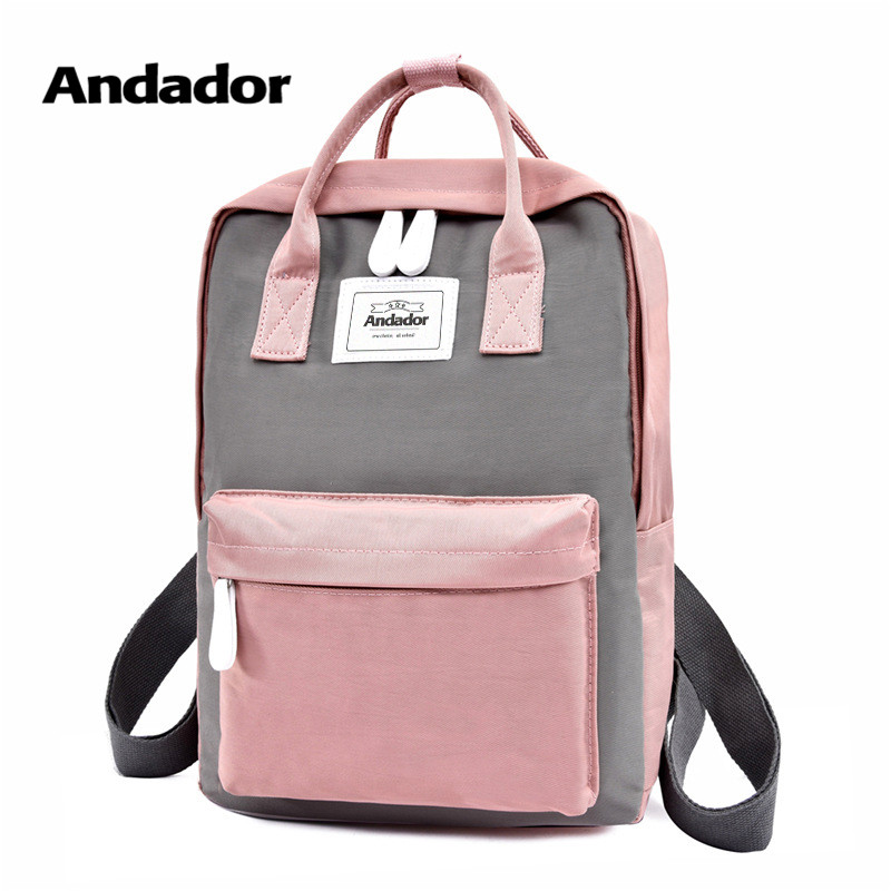 Laptop Backpack Travel-Bag Canvas Teenager Pink Large-Capacity Women Fashion High-Quality