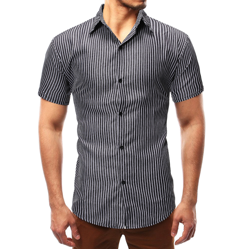 2019 fashion striped shirt men high quality short sleeve mens casual printed silk