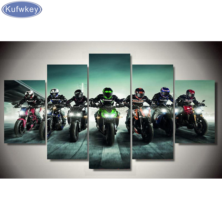 5pcs 5d Diy Diamond Painting Motorcycle Gift Room Decor