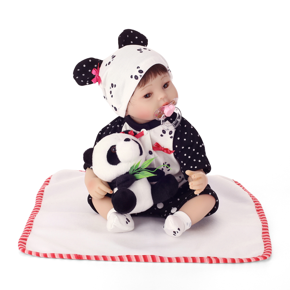 40cm NPK Doll Girl Reborn Baby Short Hair Lifelike Newborn Baby Doll Panda Pattern Cloth Vinyl Silicone Reborn Doll 2018