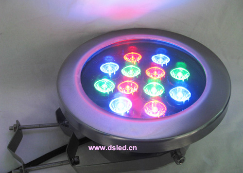 High power,good quality,IP68,12W LED RGB pool light,12X1W, RGB, 12V DC,Dimmable, controllable,DMX compitable