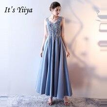 Es der Yiiya Formale Abendkleider Licht Blau V-ausschnitt Ärmellose  Stickerei Blume Mode Designer Formale Kleid LX998 5e1ad7d638