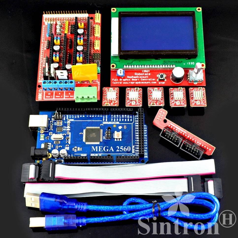 [Sintron] 3D printer Kit RAMPS 1.4 + Mega 2560 R3 + LCD 12864 + 5pcs A4988 RepRap Mendal,Prusa i3,Koseel american country industrial style wall lights loft 3 heads water pipe wall sconce vintage bronze wall lamp iron art lustre