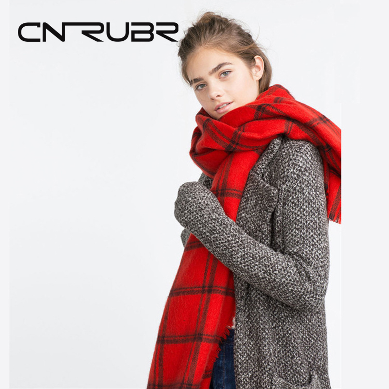 DreamShining Winter Luxury Brand Red Plaid Cashmere <font><b>Scarf</b></font> Women Oversized Blanket Wrap Long Wool <font><b>Scarf</b></font> Women Pashmina Shawls