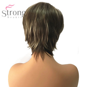 Image 3 - StrongBeauty Womens Synthetic Wig Short Pixie Cut Ash Brown/Bleach Blonde Highlighted/Balayage Hair Natural Wigs