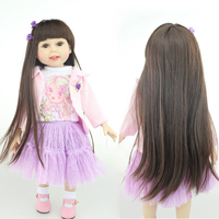 18 45cm girl doll with dress and shoes silicone lifelike black hair girl doll for baby girl Merry Christmas gift