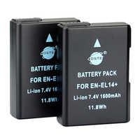 DSTE 2 pièces 1600 mAh EN-EL14 Batterie pour Appareil Photo Nikon D3100 D3200 D5100 D5200 P7000 P7100 P7200 P7700 P7800 D3400 D5600 D3500