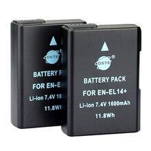 DSTE 2PCS 1600 mAh EN-EL14 Camera Battery for Nikon D3100 D3200 D5100 D5200 P7000 P7100 P7200 P7700 P7800 D3400 D5600 D3500