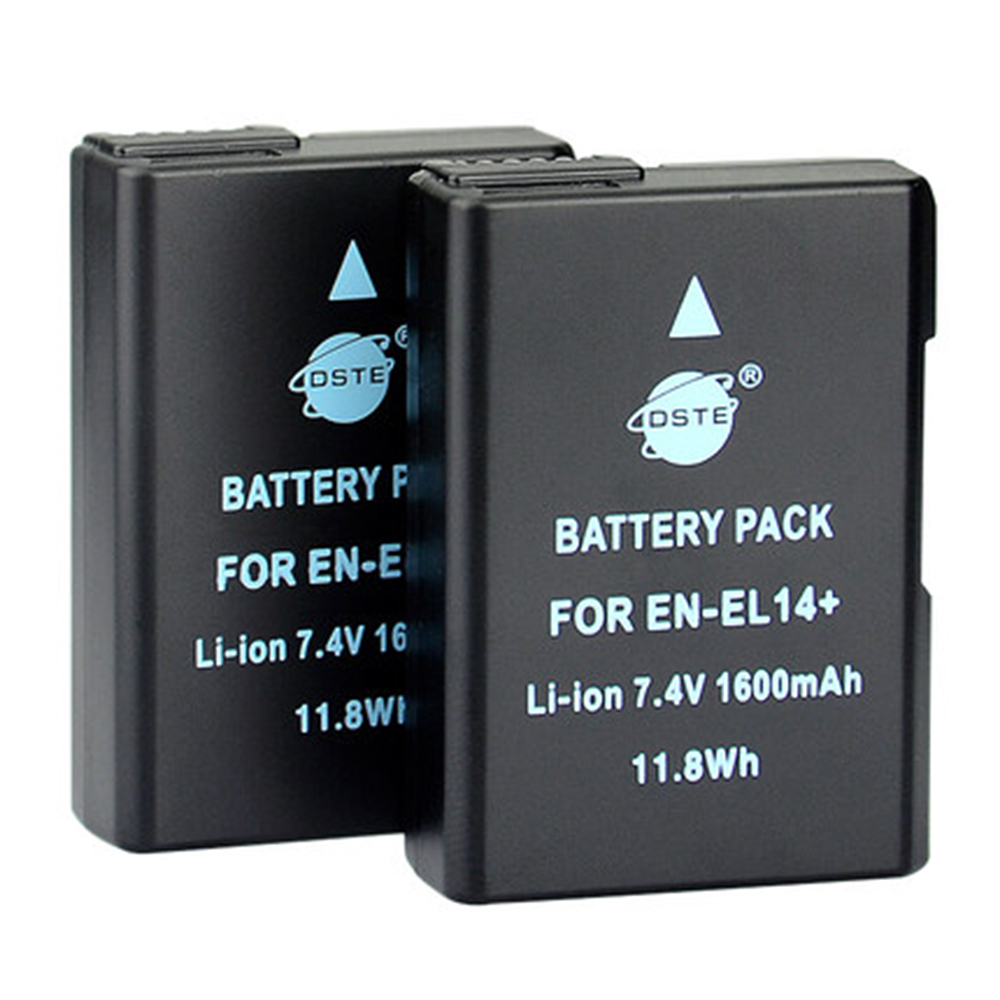 DSTE 2PCS 1600 mAh EN-EL14 en-el14 Camera Battery for NIKON D3100 D3200 D5100 D5200 P7000 P7100 P7200 P7700 P7800 D3400 D5600
