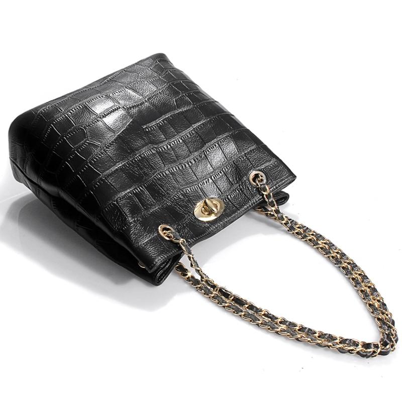 ФОТО 2017 simple black genuine leather women hand bag ladies shoulder bag chain bag fashion crocodile pattern leisure bag female