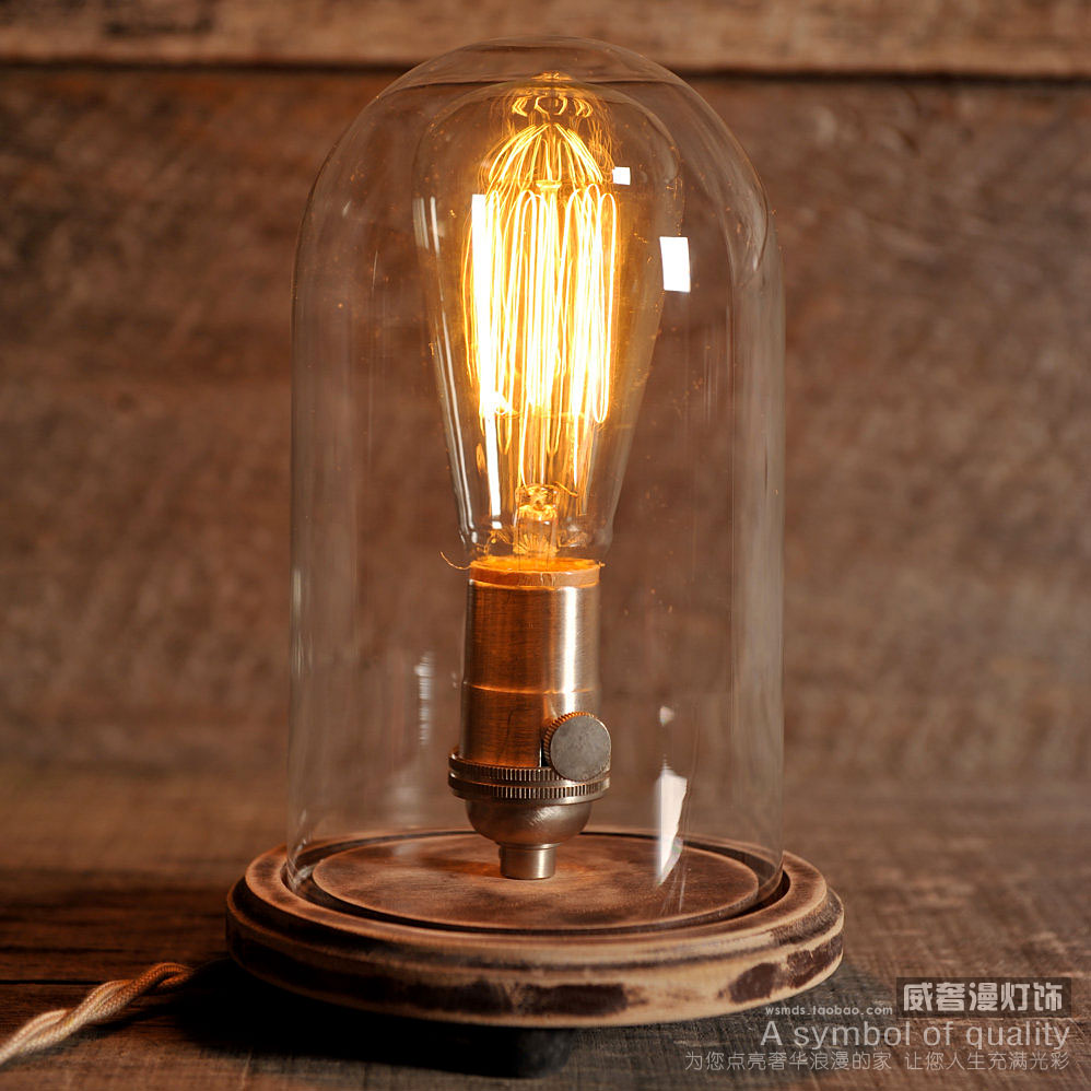 Edison Lamp Vintage Bell Jar Table Lamp Rustic