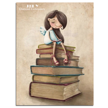 diamond mosaic picture little girl diamond embroidery craft people girl on books rhinestones painting needlework cartoon picture - Colored People Book