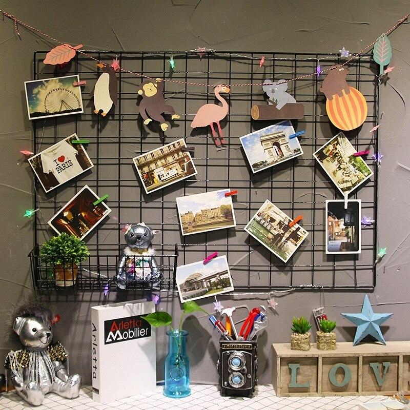 Metal Mesh Grid Wall Hanging Photo Frame Multi-Function Panel Postcards Mesh Frame Wall Art Display Storage Rack DIY Decoration