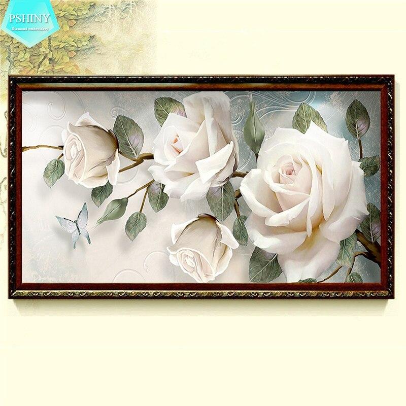 PSHINY 5D DIY Алмазная вышивка распродажа белые розы цветы полная дрель квадратные Стразы картины алмазная живопись Новые поступления