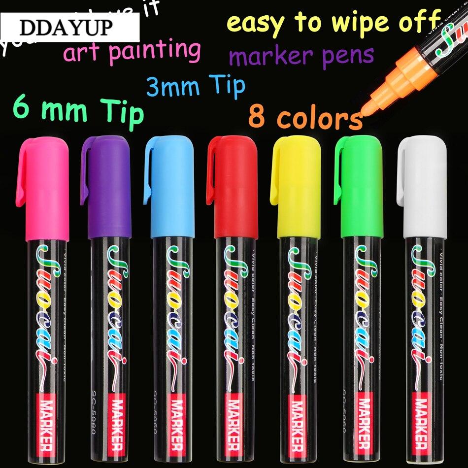 8Colors Highlighter 3mm 6mm Fluorescent Liquid Chalk  Art Marker Pens Painting Gift Stationery School Office Supplies