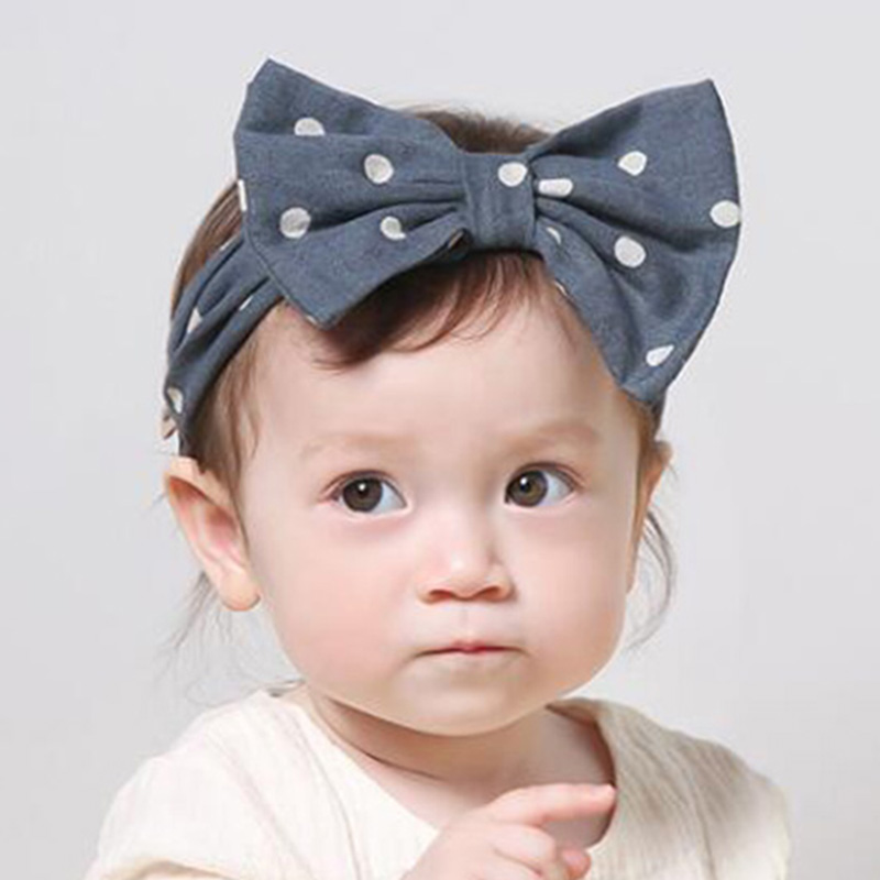 Newborn Headband Cotton Hair Bow Dot Headband Kids Stretch Hair Bands Headwraps Bow Boutique Cute Headwear Hair Accessories 6 colors new cute girl headwraps top knot dot plaid printed headband children infants big bow elastic hair accessories for