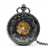 Authentic Nostalgic Automatic Mechanical Pocket Watch Creative Female Student Couple Gift Retro Flip Men Watches