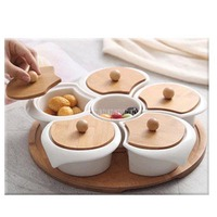 New Ceramic Storage Dish With Bamboo Tray Creative Separating Box Plate Candy Disc Storage Box Snack Dried Fruit Bowl With Lid