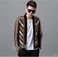 Новый стиль бархат вышивка Для мужчин куртка Корейская версия Тонкий Повседневное пальто певец танцор ночной клуб наряд этап шоу куртка