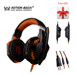 Image 2 - KOTION EACH G2000 G9000 Gaming Headphones Gamer Earphone Stereo Deep Bass Wired Headset with Mic LED Light for PC PS4 X BOX