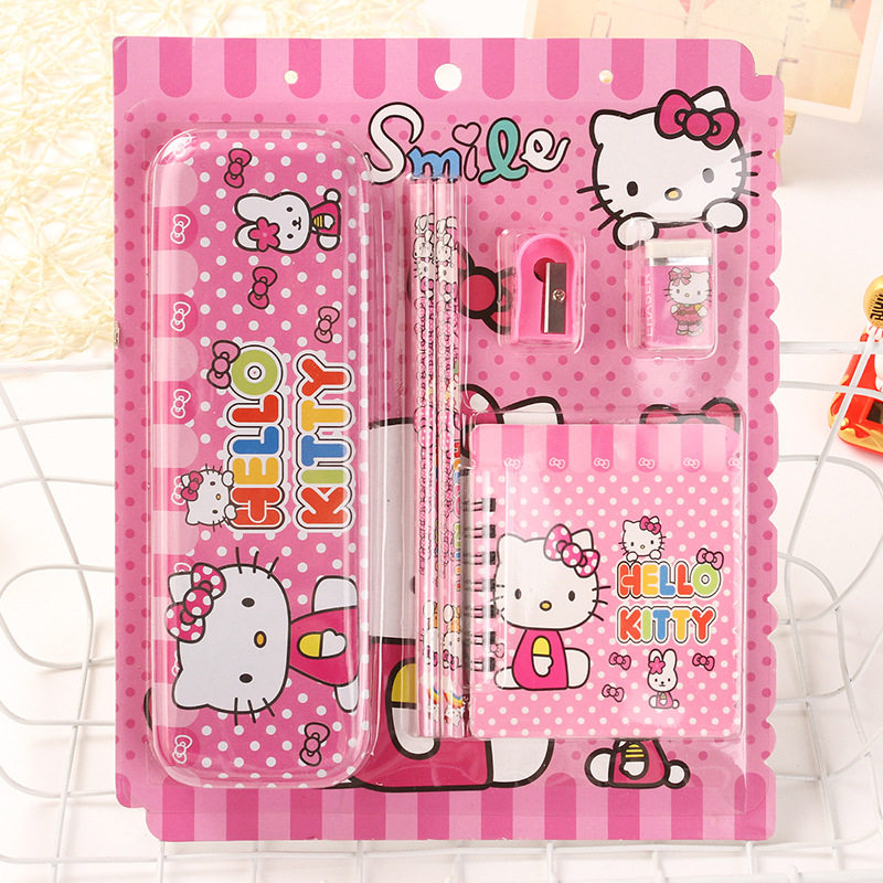 Creative stationery set 6pcs/lothello kitty theme children's school supplies cartoon gift school prize pencil case m&g stationery set primary school pupil intelligence box multifunctional kindergarten teaching aid prize