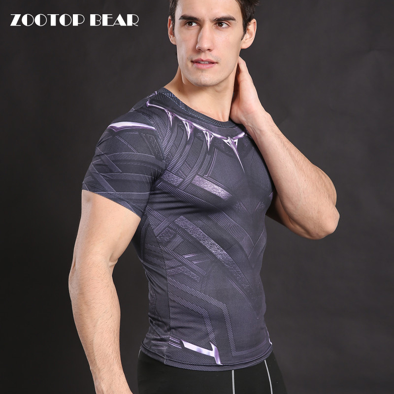 Black Panthers Compression shirts Armor Men Crossfit T shirt Fitness body building Top Elastic HOT Dry Superhero Tee ZOOTOP BEAR