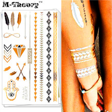 M-theory Metallic 3d Gold Choker Temporary Makeup Tattoos Body Art Flash Tatoos Sticker Hamsa Henna Tatto Bikini Makeup Tools