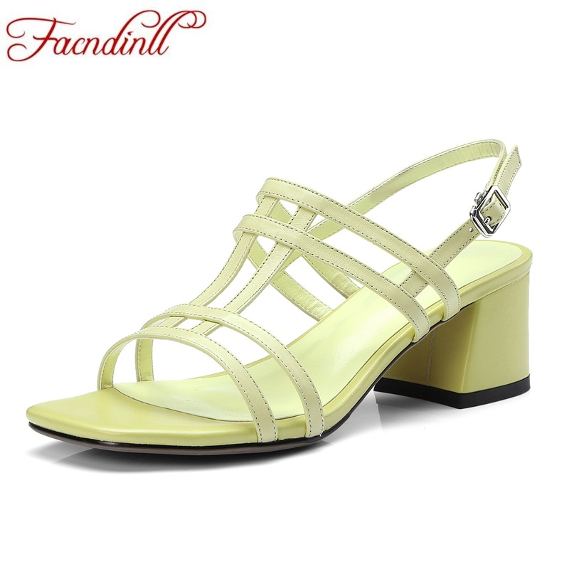 FACNDINLL new 2018 summer fashion genuine leather multi color middle square high heels open toe shoes women sandals dress shoes facndinll new genuine leather summer