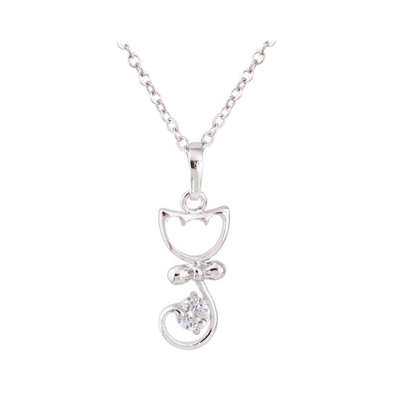 2015 New Girls Sweet Bow Cat Necklace White Gold Plated Pendant ...