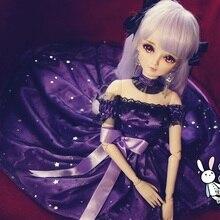 BJD женское фиолетовое Королевское длинное платье, юбка, наряды, одежда для 1/3, 24 дюйма, для высоких женщин, BJD кукла SD13 DK DZ AOD DD, Одежда для кукол
