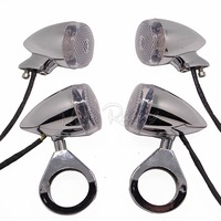 4x Chrome Bullet Front Rear Motorcycle Motobike Turn Signal Light 41mm Relocation Fork Clamp For Harley