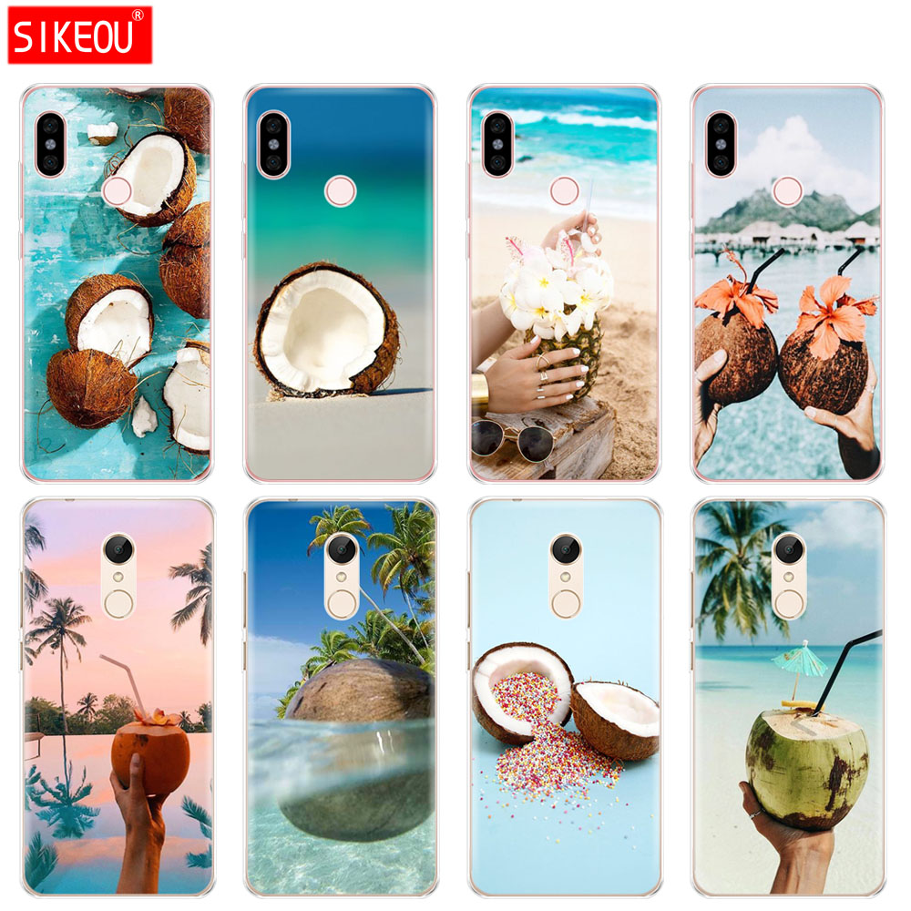Silicone Cover phone Case for Xiaomi redmi 5 4 1 1s 2 3 3s pro PLUS redmi note 4 4X 4A 5A Coconut on the beach