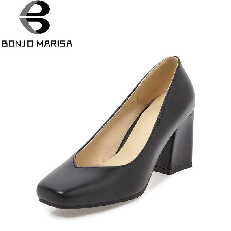 4e3de51958 BONJOMARISA Women's Chunky High Heels Square Toe Less Platform Office Shoes  Woman Party Wedding Pumps Big Size 32-43