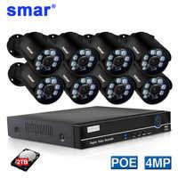 Smar H.265 POE système de sécurité 8CH 4CH 4MP HDMI POE NVR Kit métal 4MP IR caméra IP de vidéosurveillance extérieure P2P ensemble de Surveillance vidéo