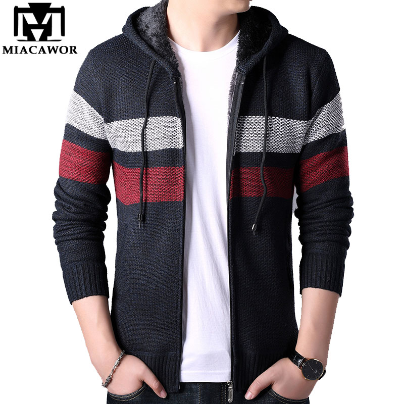 MIACAWOR Autumn Winter Wool Sweater Men Fleece Warm Hooded Sweatercoat Casual Zipper Cardigan Men Sweater Coats Men Y143