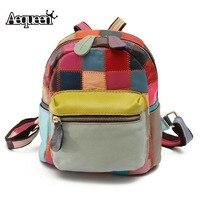 AEQUEEN Women Genuine Leather Mini Backpack Patchwork Vintage Back Pack School Bag Multicolor Travel Bag Random Color
