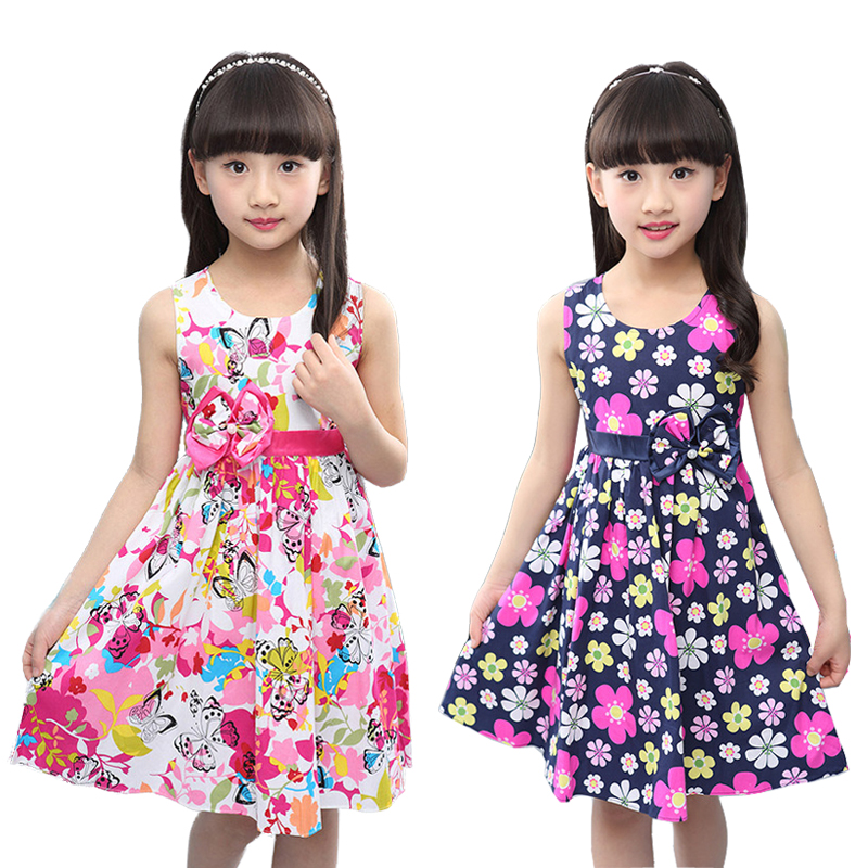 2018 Flower Girls Dress Sleeveless Bow Kids Dresses for Girls 4 5 6 7 8 9 10 11 12 Year Summer Children Princess Clothing summer 2017 new girl dress baby princess dresses flower girls dresses for party and wedding kids children clothing 4 6 8 10 year