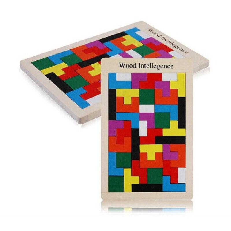 68890c54e Venta caliente de madera inteligencia aprendizaje infantil clásico juguete  madera Rompecabezas Tetris Juguetes educativos bebé crece Tangram