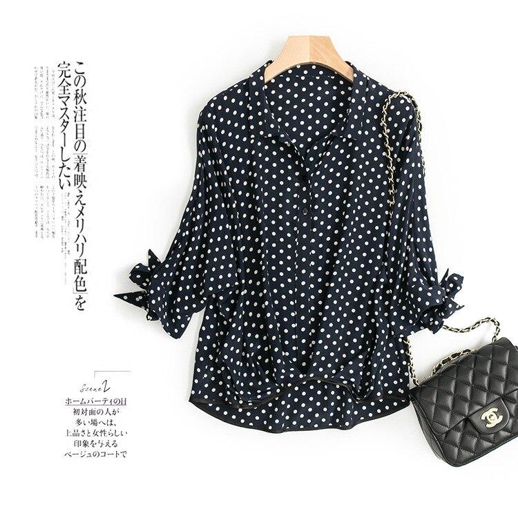 Spring and summer new women s high end boutique bat sleeve wave print silk shirt