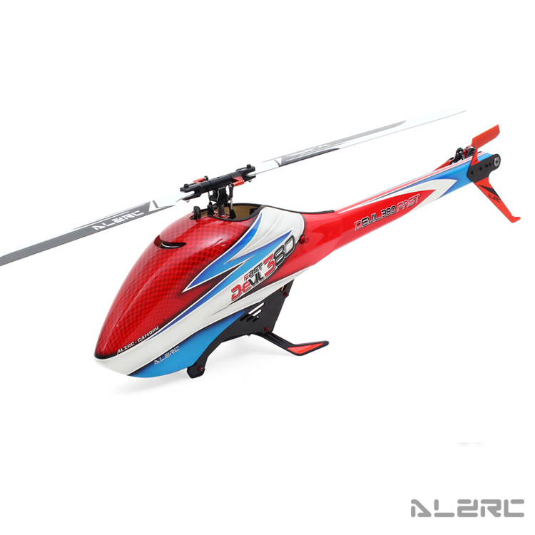 (Special Offer) ALZRC - Devil 380 FAST FBL - Black - RC 380 Helicopter Collocation Color Shell And Red Tail alzrc devil 450 helicopter parts 450 fast fiberglass shell