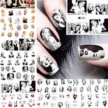 12 Sheets Water Decal Nail Art Decoraties Nail Sticker Tattoo Volledige Cover Beauty Marilyn Monroe Decals Manicure Levert A481492