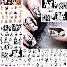 12 feuilles de décalcomanie à leau décoration dongle autocollant pour ongles tatouage couverture complète beauté Marilyn Monroe décalcomanies manucure fournitures A481492