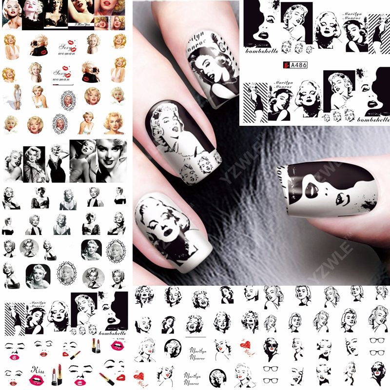 12 Sheets Water Decal Nail Art Decorations Nail Sticker Tattoo Full Cover Beauty Marilyn Monroe Decals Manicure Supplies A481492
