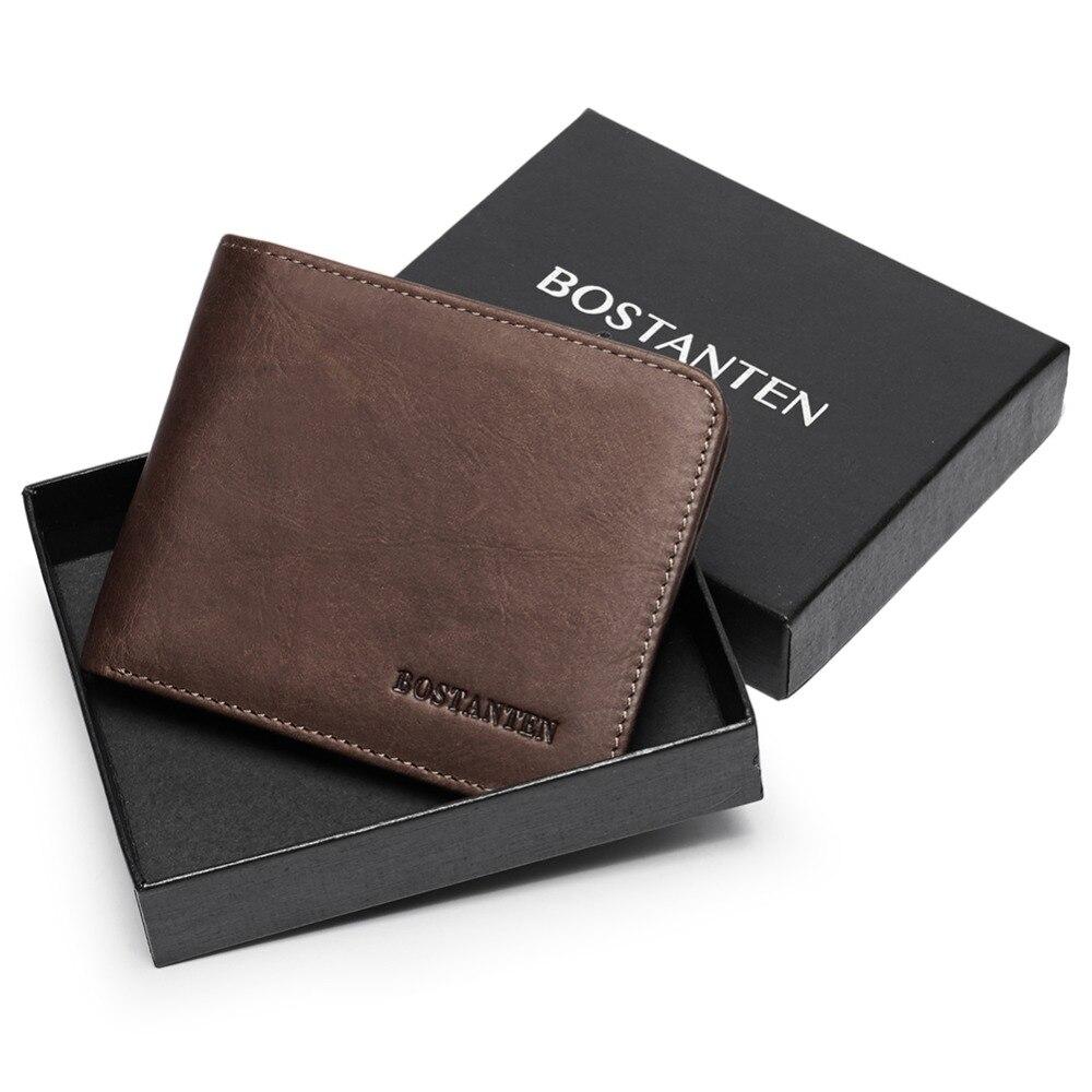 Bostanten men id/titular do cartão de crédito bifold frente bolso carteira com caixa rfid bloqueio titular do cartão de visita 100% couro genuíno
