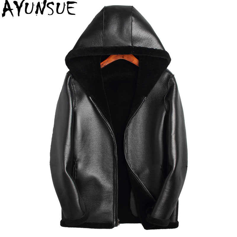 AYUNSUE Winter Jacket Men 100% Sheep Shearling Coats Double-sided Wear Jacket Mens Real Pure Natural Fur JacketsF-JSJ-LM01 MY720