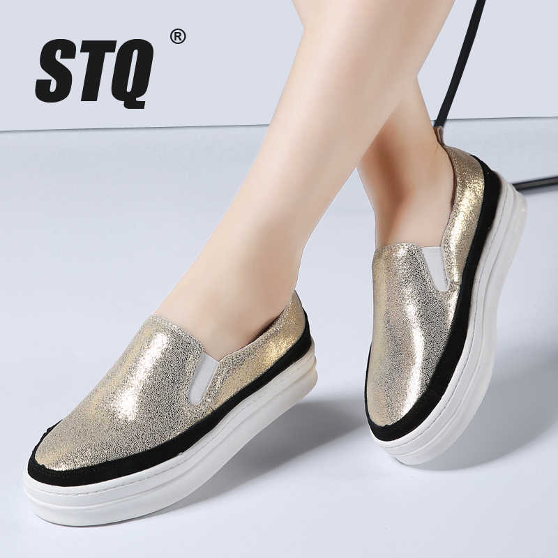 STQ 2019 Spring women suede leather flats slip on platform flat shoes women  genuine leather sneakers cc50fa3564fc