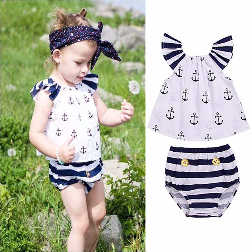 Cute Infant Baby Girls Off Shoulder Summer Beachwear Anchor Tops Striped Briefs Outfits Short Sleeve Kids Casual Sunsuit Clothes