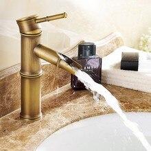 Grifo de latón antiguo de bambú de diseño moderno/grifos de lavabo de moda/Mezclador de Baño/grifo de lavabo de baño Vintage y grifo de agua 583-1