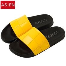 ASIFN Women Men Slippers Mosaic Lattice Fashion Type Couple Beach Shoes