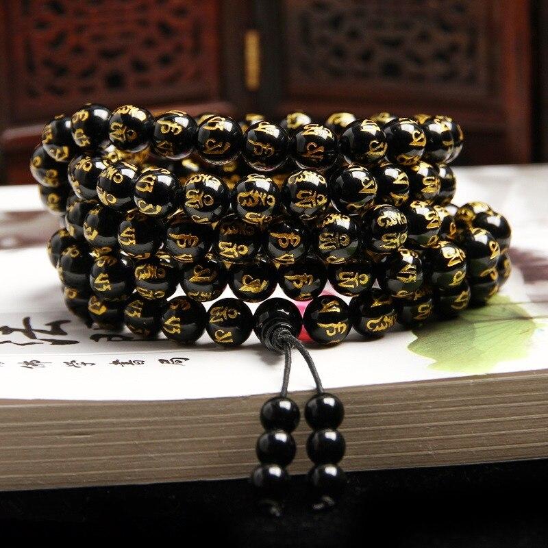 Drop Verschiffen 8mm 108 Sechs Worte Mantra perlen Obsidian Armbänder & Armreifen Achate Armbänder Schmuck